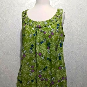 Boden Sleeveless Blouse Top Green Floral